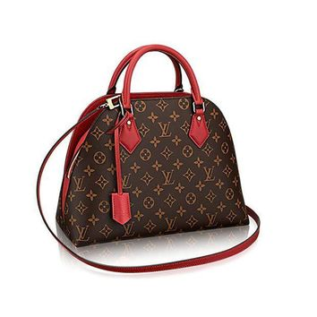 CREYDC0 Authentic Louis Vuitton Monogram Canvas ALMA B'N'B Bag Handbag Red Article: M41779 Made in France