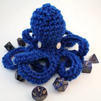 Small bright blue crochet octopus, Ready to Ship