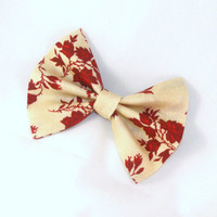 Hair Bow Vintage Inspired Red Flowers on Tan Hair Bow with Aligator Clip Rockabilly Pin up Teen WomanG