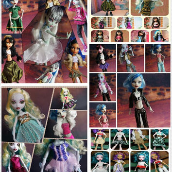 HOT PROMOTION Original Clothing Suits For Monster High Dolls 30Pcs= Dresses + Shoes +