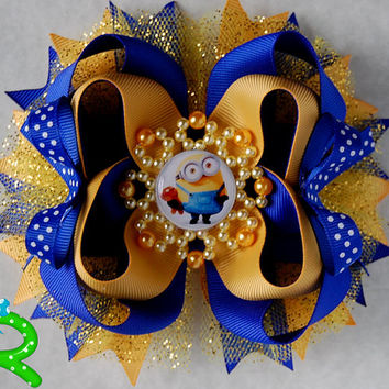 Minion hair bow, Yellow Boutique Bow , layered bow , stacked bow