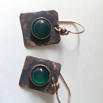 rustic handmade dangle  earrings of  copper and green onyx cabochon