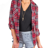 Red Plaid Button Up Shirt - Red /