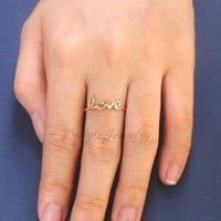 Initial Names Ring - Personalized Ring - Custom Ring - Gift For Wife  - 18K Gold Plated
