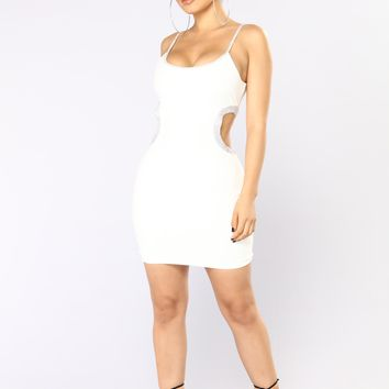 Big Reputation Rhinestone Dress - White