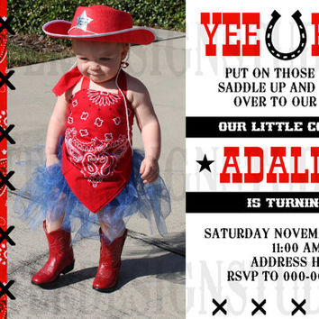Western Bandana Country Farm Birthday Invitation - Printable