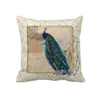 Ancient Peacock Modern Vintage Decoratve Decor Throw Pillows from Zazzle.com
