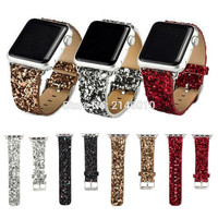 Shiny Glitter Leather Bling Luxury Apple Watch Band 38mm & 42mm