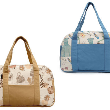 Women's Girl Accessories Pattern Beige Printed Canvas Duffel Travel Bags WAS_19