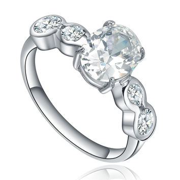 Stainless Steel Oval and Round Cubic Zircona Ring