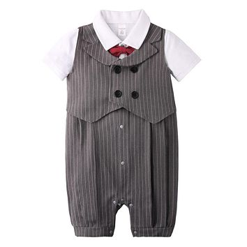 Fashion Baby Boy Clothes Set Newborn Infant Clothing Bow Tie Short Sleeve Jumpsuit Overalls Vest Baby Gentleman Suit