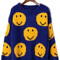 Blue Sweater with Contrast Yellow Smile Pattern