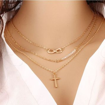 ONETOW Trend of large - name temperament multi - layer metal cross inverted 8 chain clavings chain beads necklace anti - allergy