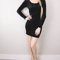 Vintage Crushed Velvet Black Grunge Body Con Mini Dress