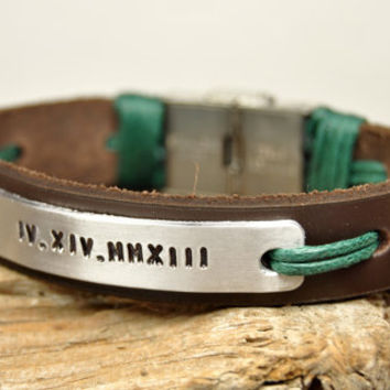FREE SHIPPING - Men's Personalized Bracelet, Leather Men Bracelet, Men's Leather Bracelet, Brown Leather, Aluminium Plate