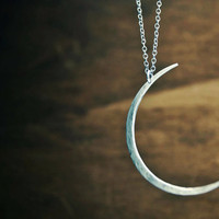 Seeing The Dark Side of the Moon Necklace- Large Hammered Crescent Moon Shape
