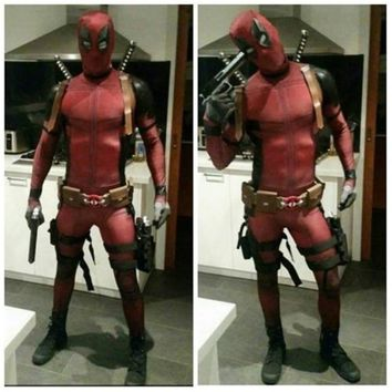 Deadpool Dead pool Taco Anime Wade Winston Wilson cosplay Unisex Red full body spandex Boy Adult Zentai bodysuit  Halloween fancy ball costumes AT_70_6