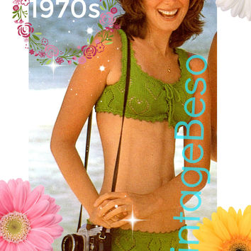 Heart Bikini KNITTING Pattern • Instant Download • Vintage 1970s • PdF Pattern • Swimsuit Swimwear Bathing Suit