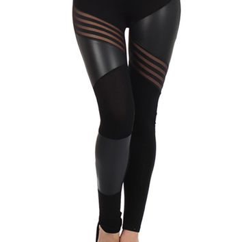 Contrast Mesh & Dull Foil Blocks Stretch High Waist Leggings