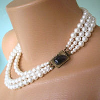 Pearl Necklace, Statement Necklace, White Pearls, Pearl Choker, Great Gatsby, Pearl and Amethyst, Mother of the Bride, Bridesmaid, Choker