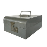 Vintage Metal Card File Box Challenger Mottled Steel Grey Lock and Handle Vintage Office Supply Industrial Home Decor