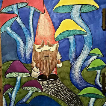 Garden Gnome Art, Mushroom Art, Fantasy Art, Fantasy Drawing, Original Drawing