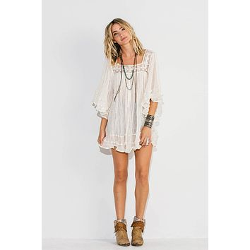 """Jen's Pirate Booty """"Janis"""" Tunic Top Natural Gauze Angel Sleeves Satin Ribbon A Festival Must Have! One Size"""