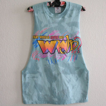 90s Upcycled WWJD - what would jesus do green acid wash tee