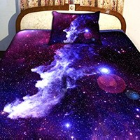 Anlye Luxury Home Decor Bedding Set 2 Sides Printing Purple Nebula Quilt Cover Nebula Bed Linen Sheets with 2 Nebula Pillow Body Cases