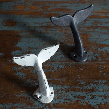 Whale Tail Wall Hooks - Set of 2 - Antique Weathered Black and White
