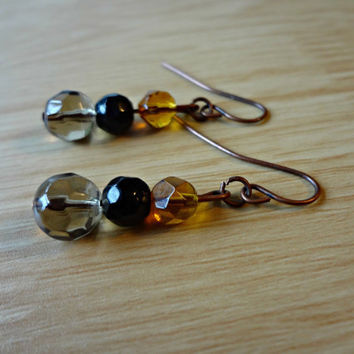 Black and Amber Beaded Dangle Earrings by EudaimoniaJewelry