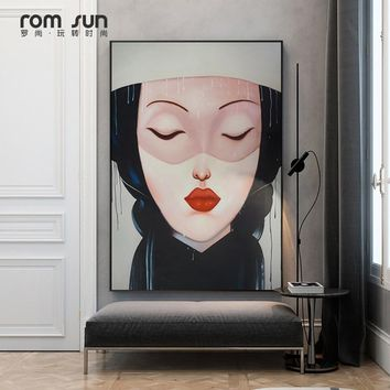 Abstract Abstinence Lady Lil Peep Canvas Poster Print For Living Room Dining Room Painting On The Wall Home Decoration Pop Art