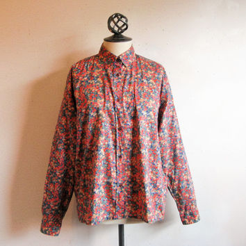 Vintage Liberty of London Shirt Rose Blue Tana Lawn Floral Blouse Plus Size 16