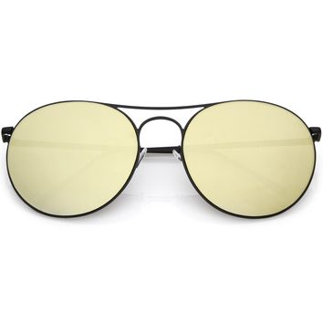 Retro Modern Oversize Round Mirrored Flat Lens Aviator Sunglasses C208
