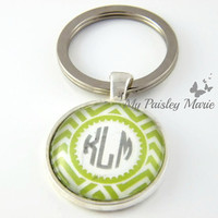 Personalized Bridesmaids Gift , Personalized Keyring , Wedding Party Gift , Chevron Pattern Keychain , Monogrammed Keychain