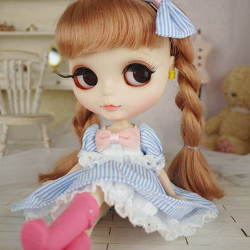 Blythe Blue Stripes Dress with Pink Bow on Front