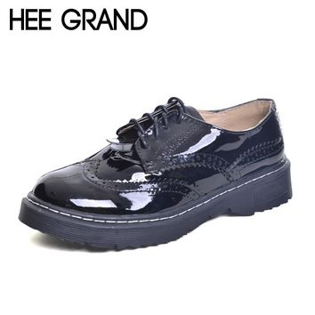 HEE GRAND Brogue Shoes Woman Round Toe Platform Oxfords British Style Creepers Cut-Outs Flat Casual Women Shoes XWD6074