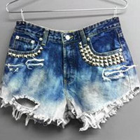Sexy Women Girl Summer High Waist Ripped Hole Wash Denim Jeans Shorts Pants = 4721366788