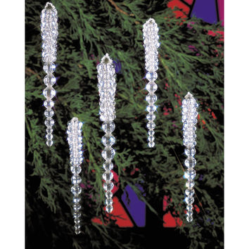 "Holiday Beaded Ornament Kit-Sparkling Icicles 3.75"""" Makes 30"