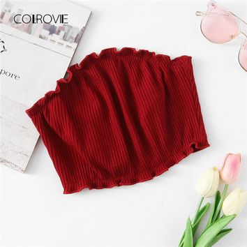Frill Trim Ribbed Bandeau Top New Fashion Summer Slim Fit Solid Women Clothes Burgundy Strapless Crop Vest