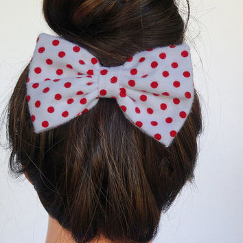 Polkadot Hair Bow White Hair Bow White Bow Polkadot Bow Red Bow Polka dot Hair Bow Women Bow Adult Bow Teens Bows Big bows Fabric Hair Bow