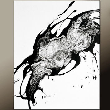 Abstract Canvas Art Painting 16x20 Contemporary Original Black & White Wall Art by Destiny Womack - dWo - Lost Memory
