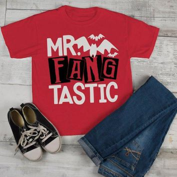 Boy's Funny Halloween T Shirt Mr. Fang Tastic Vampire Toddler Shirts Adorable Halloween Tee