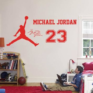 2016 New design Michael Jordan Wall Sticker Vinyl DIY home decor Basketball star Decals Sport for kids room free shipping
