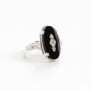 Vintage 10K White Gold Black Onyx & Diamond Art Deco Era Ring - Vintage 1930s 1940s Size 7 1/2 Black Gemstone Filigree Fine Jewelry