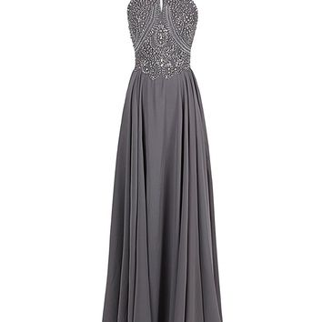 Fashion Plaza Women's Sparkling Straps Formal Gowns Beading Prom Evening Dresses Backless