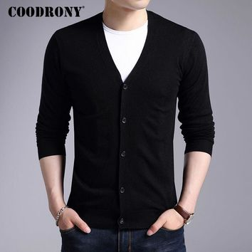 Men New Winter Warm Cashmere Wool Sweater / Classic V-Neck Cardigan