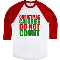 Christmas calories do not count-Unisex White/Red T-Shirt