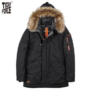 TIGER FORCE 2017 Padded Parka Men Polyester Coat Winter Jacket Mens Thick Parkas Artificial Fur Collar Water Repellent