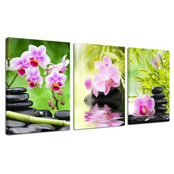 Purple Orchid Flower Bamboo Stone 3 Pieces Giclee Art Work Canvas Prints Zen Art Wall Decor Spa Massage Treatment Painting